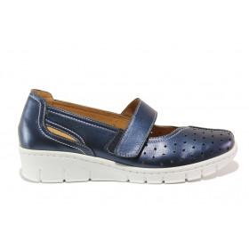 Дамски обувки на платформа - естествена кожа - тъмносин - EO-15105
