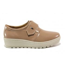 Дамски обувки на платформа - естествена кожа-лак - бежови - EO-15187