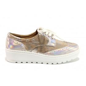 Дамски обувки на платформа - естествена кожа - бежови - EO-15182