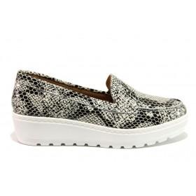 "Дамски обувки на платформа - естествена кожа с ""кроко"" мотив - сиви - EO-15219"