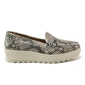 """Дамски обувки на платформа - естествена кожа с """"кроко"""" мотив - бежови - EO-15218"""