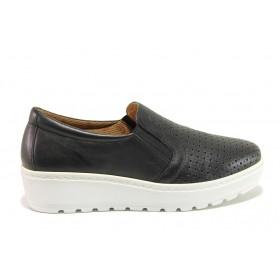 Дамски обувки на платформа - естествена кожа - черни - EO-15196