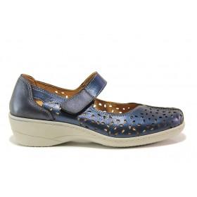 Дамски обувки на платформа - естествена кожа - тъмносин - EO-15110