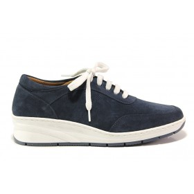Дамски обувки на платформа - естествен велур - тъмносин - EO-15123