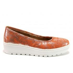 Дамски обувки на платформа - естествена кожа - червени - EO-15210
