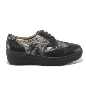 Дамски обувки на платформа - естествена кожа - черни - EO-15181