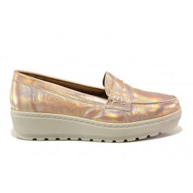 Дамски обувки на платформа - естествена кожа - бежови - EO-15215