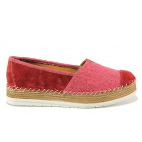 Равни дамски обувки - естествен набук - червени - EO-15250