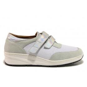 Дамски обувки на платформа - естествена кожа в съчетание с текстил - бели - EO-15117