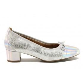 Дамски обувки на среден ток - естествена кожа - сребро - EO-15225