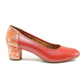 Дамски обувки на среден ток - естествена кожа - червени - EO-15228