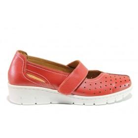 Дамски обувки на платформа - естествена кожа - червени - EO-15106
