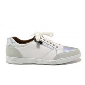 Дамски спортни обувки - естествена кожа с естествен велур - бели - EO-15089
