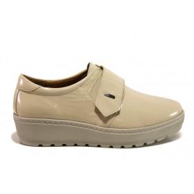 Дамски обувки на платформа - естествена кожа-лак - бежови - EO-15186