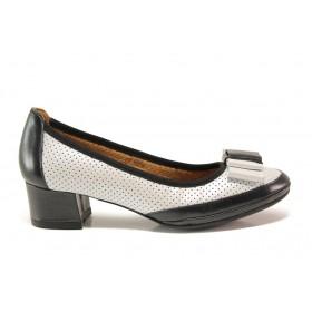 Дамски обувки на среден ток - естествена кожа - черни - EO-15232