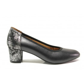 Дамски обувки на среден ток - естествена кожа - черни - EO-15227