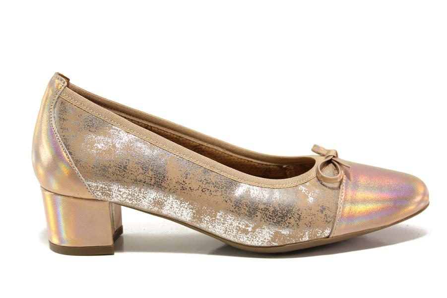 Дамски обувки на среден ток - естествена кожа - бежови - EO-15226