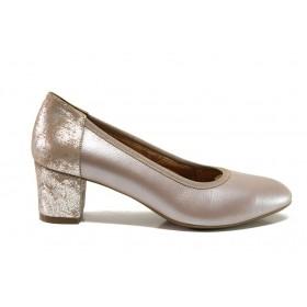 Дамски обувки на среден ток - естествена кожа - бежови - EO-15229
