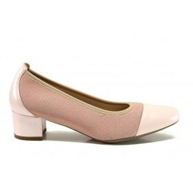 Дамски обувки на среден ток - естествена кожа в съчетание с текстил - розови - EO-15224
