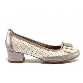 Дамски обувки на среден ток - естествена кожа - бежови - EO-15233