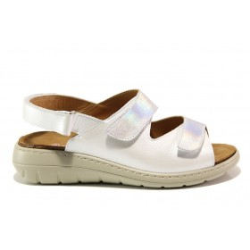 Дамски сандали - естествена кожа - бели - EO-15260