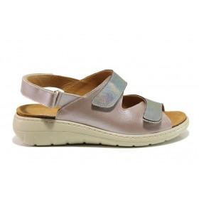Дамски сандали - естествена кожа - розови - EO-15259