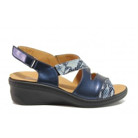 Дамски сандали - естествена кожа - тъмносин - EO-15274