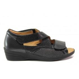 Дамски сандали - естествена кожа в съчетание с текстил - черни - EO-15262