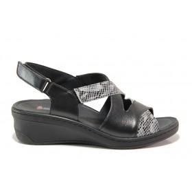 Дамски сандали - естествена кожа - черни - EO-15273