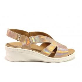 Дамски сандали - естествена кожа - жълти - EO-15280