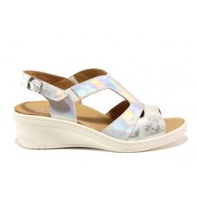 Дамски сандали - естествена кожа - сребро - EO-15279