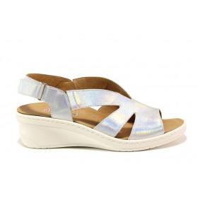 Дамски сандали - естествена кожа - сребро - EO-15281