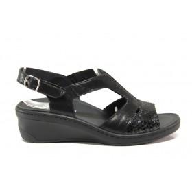 Дамски сандали - естествена кожа - черни - EO-15276