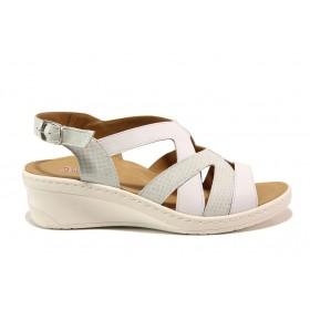Дамски сандали - естествена кожа - бели - EO-15272