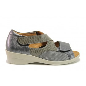 Дамски сандали - естествена кожа в съчетание с текстил - сиви - EO-15263
