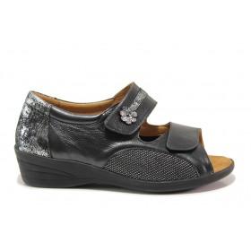 Дамски сандали - естествена кожа в съчетание с текстил - черни - EO-15269