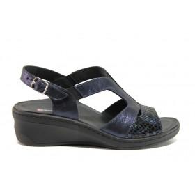 Дамски сандали - естествена кожа - тъмносин - EO-15277