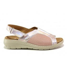 Дамски сандали - естествена кожа в съчетание с текстил - розови - EO-15261