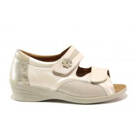 Дамски сандали - естествена кожа в съчетание с текстил - бежови - EO-15267