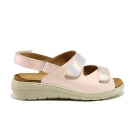 Дамски сандали - естествена кожа - розови - EO-15258