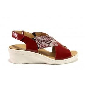 Дамски сандали - естествена кожа-лак - червени - EO-15285