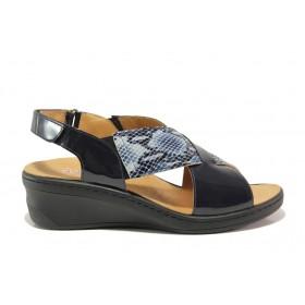 Дамски сандали - естествена кожа-лак - тъмносин - EO-15283