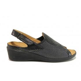 Дамски сандали - естествена кожа в съчетание с текстил - черни - EO-15265
