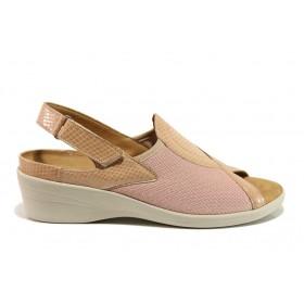 Дамски сандали - естествена кожа в съчетание с текстил - розови - EO-15266
