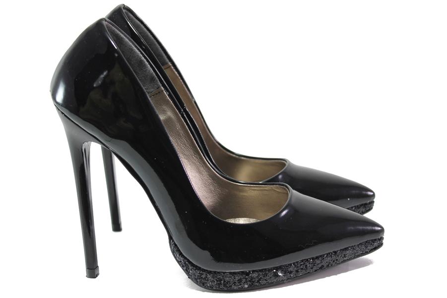 Дамски обувки на висок ток - еко кожа-лак - черни - EO-15083