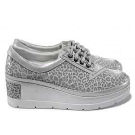 Дамски обувки на платформа - естествена кожа - сребро - EO-15313