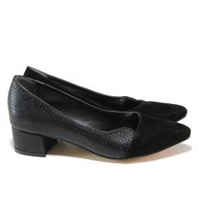Дамски обувки на среден ток - висококачествена еко-кожа и велур - черни - EO-15332
