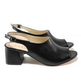 Дамски сандали - висококачествена еко-кожа - черни - EO-15336