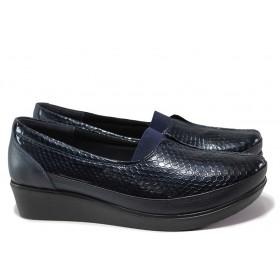 Дамски обувки на платформа - естествена кожа-лак - тъмносин - EO-15350