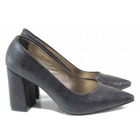 Дамски обувки на висок ток - висококачествена еко-кожа - черни - EO-15352